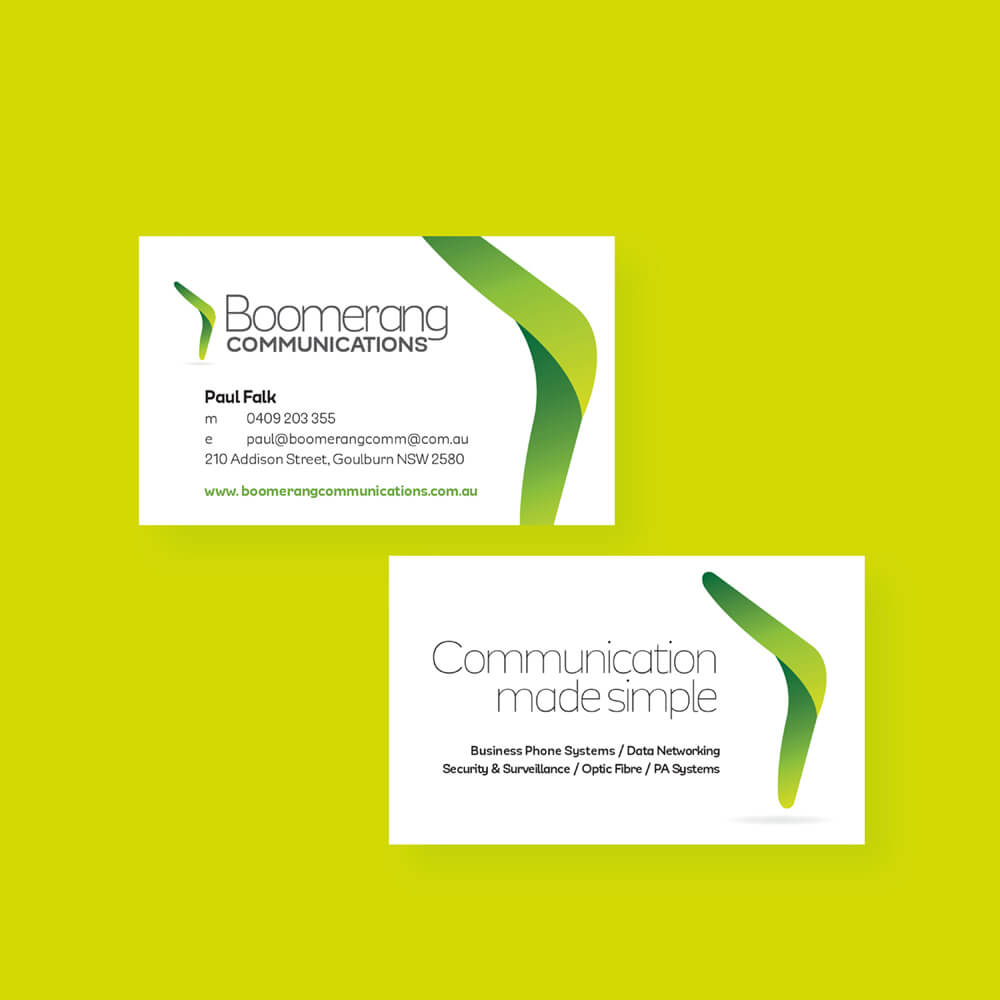 Boomerang Communications business cards