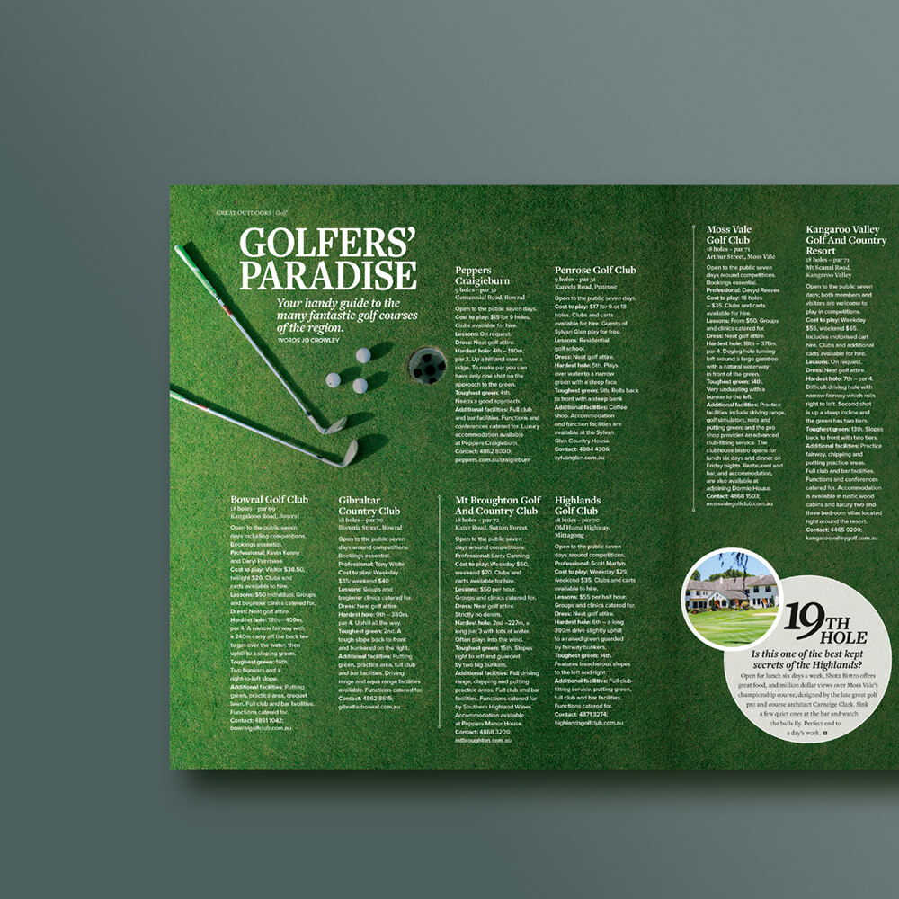 Escape Magazine Golf Layout