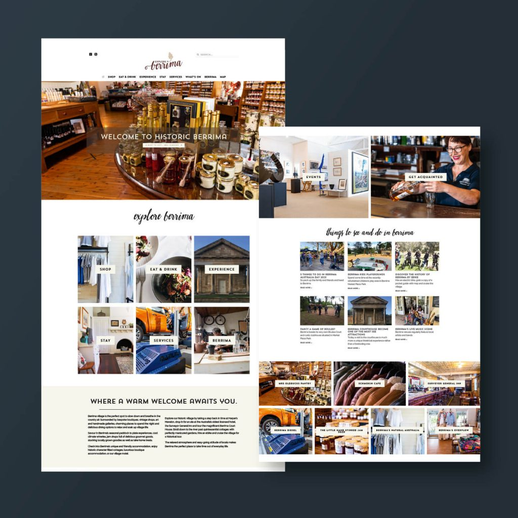 Pages from Explore Berrima website